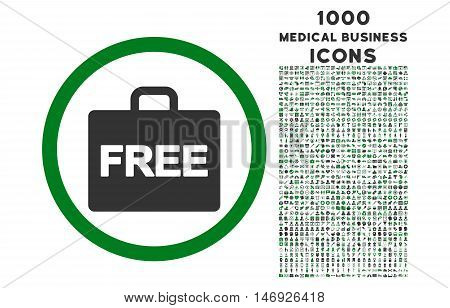 Free Accounting rounded glyph bicolor icon with 1000 medical business icons. Set style is flat pictograms, green and gray colors, white background.