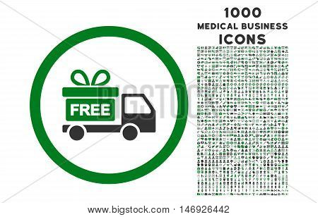 Gift Delivery rounded glyph bicolor icon with 1000 medical business icons. Set style is flat pictograms, green and gray colors, white background.