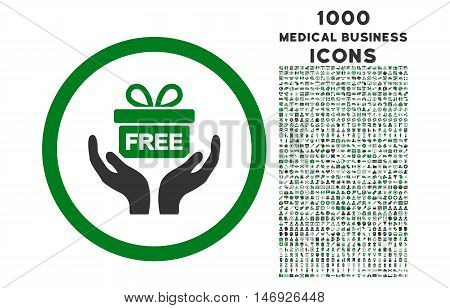 Give Present rounded glyph bicolor icon with 1000 medical business icons. Set style is flat pictograms, green and gray colors, white background.
