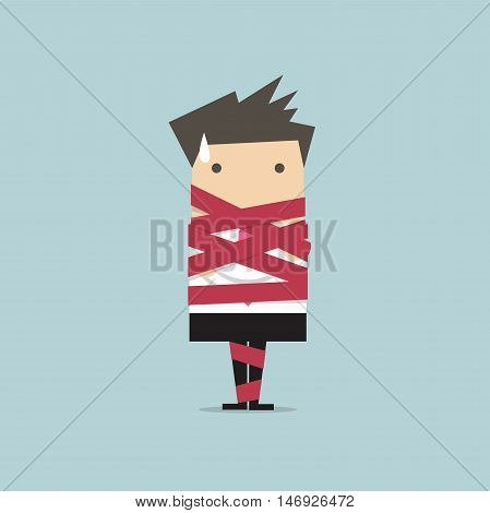 Businessman caught in red tape vector illustration