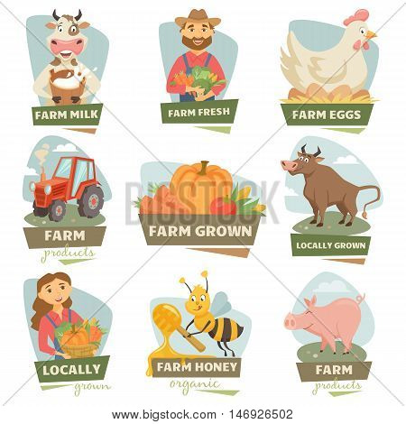 Farm market label and badge set. Cow with milk, pig, farmer men, women, harvest, pig, tractor, bull, hen on egg, bee, honey, meet. Farmer fair logo. Natural farm food, organic product, locally grown.