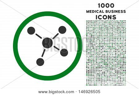 Links rounded glyph bicolor icon with 1000 medical business icons. Set style is flat pictograms, green and gray colors, white background.