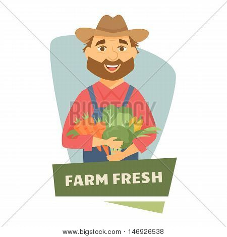 Framer men with basket of harvest label or badge. Farm vegetables logo. Natural food, organic product, locally grown. Cartoon framer men with harvest. Funny farmhands guy. Farmer's market label