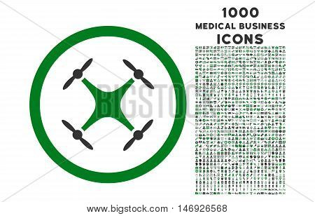 Quadcopter rounded glyph bicolor icon with 1000 medical business icons. Set style is flat pictograms, green and gray colors, white background.