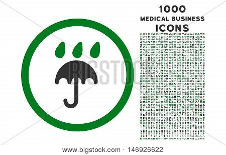 Rain Protection rounded glyph bicolor icon with 1000 medical business icons. Set style is flat pictograms, green and gray colors, white background.