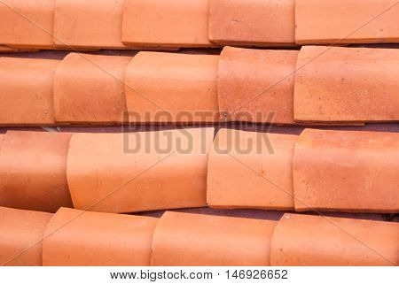 Old roof tiles pattern closeup. Horizontal rows