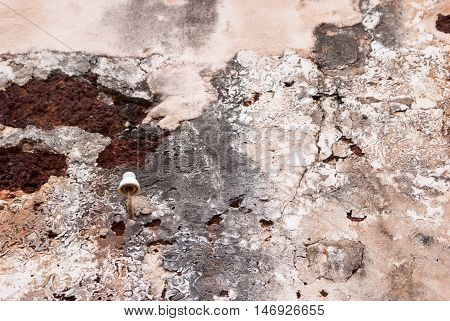 Texture Of An Ancient Wall With Rust And Cracks