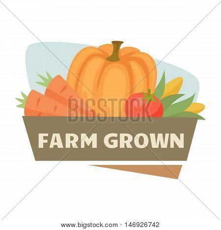 Farm harvest label or badge. Farm vegetable logo. Natural food, organic product, locally grown. Cartoon ripe vegetables. Farmer's market label