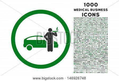 Smoking Taxi Driver rounded glyph bicolor icon with 1000 medical business icons. Set style is flat pictograms, green and gray colors, white background.