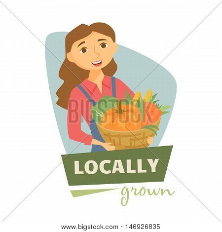 Farmer woman with basket of harvest label or badge. Farm vegetables logo. Natural food, organic product, locally grown. Cartoon farmer woman with harvest. Cute farmhands girl. Farmers market label