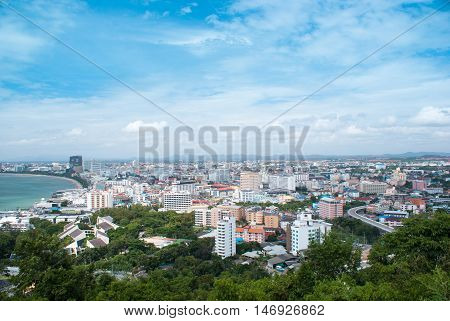 Aerial View Of The City. Pattaya, Thailand