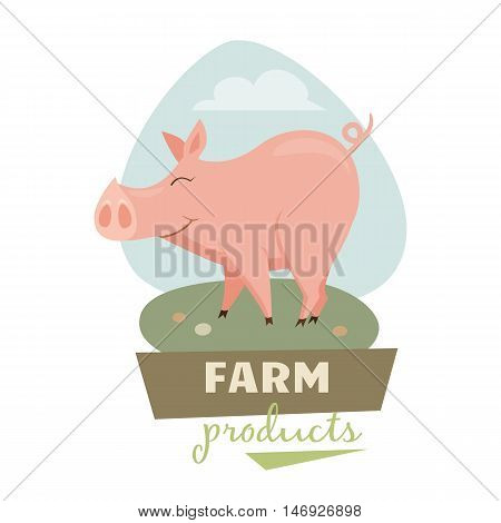 Pig on field label or badge. Farm meet logo. Natural food, organic product, locally grown. Cartoon pig on green grass. Cute and funny pig. Farmer's market label
