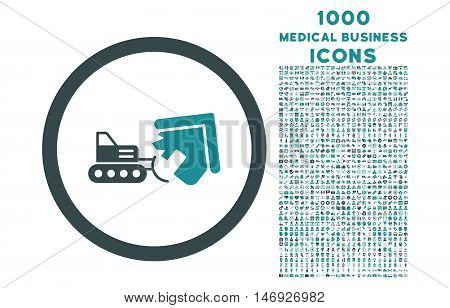 Demolition rounded glyph bicolor icon with 1000 medical business icons. Set style is flat pictograms, soft blue colors, white background.