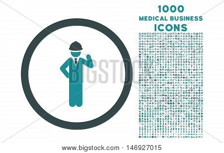 Engineer rounded glyph bicolor icon with 1000 medical business icons. Set style is flat pictograms, soft blue colors, white background.