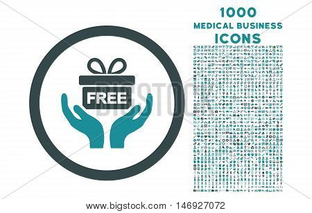 Give Present rounded glyph bicolor icon with 1000 medical business icons. Set style is flat pictograms, soft blue colors, white background.