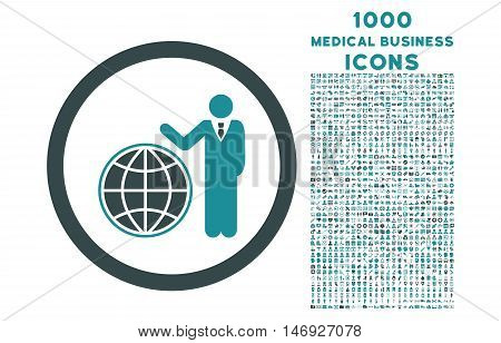 Global Manager rounded glyph bicolor icon with 1000 medical business icons. Set style is flat pictograms, soft blue colors, white background.