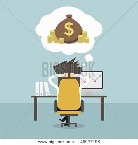 Business man dreaming about money. Vector illustration