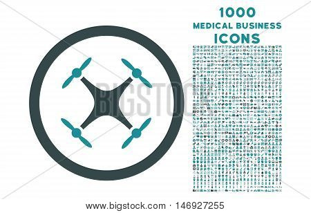Quadcopter rounded glyph bicolor icon with 1000 medical business icons. Set style is flat pictograms, soft blue colors, white background.