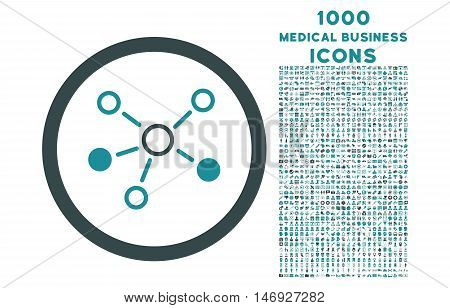 Relations rounded glyph bicolor icon with 1000 medical business icons. Set style is flat pictograms, soft blue colors, white background.