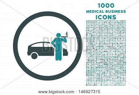 Smoking Taxi Driver rounded glyph bicolor icon with 1000 medical business icons. Set style is flat pictograms, soft blue colors, white background.