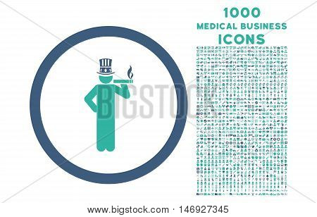 American Capitalist rounded glyph bicolor icon with 1000 medical business icons. Set style is flat pictograms, cobalt and cyan colors, white background.