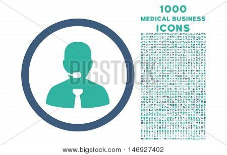 Call Center Operator rounded glyph bicolor icon with 1000 medical business icons. Set style is flat pictograms, cobalt and cyan colors, white background.