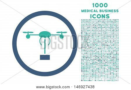 Copter Shipment rounded glyph bicolor icon with 1000 medical business icons. Set style is flat pictograms, cobalt and cyan colors, white background.