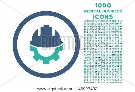 Development rounded glyph bicolor icon with 1000 medical business icons. Set style is flat pictograms, cobalt and cyan colors, white background.