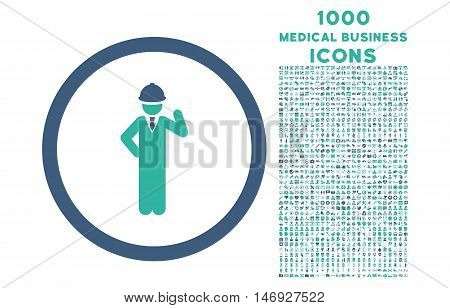 Engineer rounded glyph bicolor icon with 1000 medical business icons. Set style is flat pictograms, cobalt and cyan colors, white background.