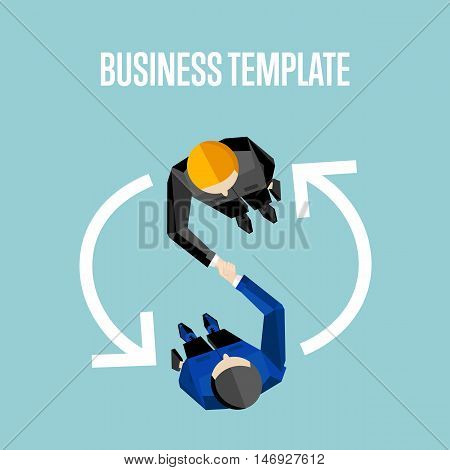 Business template with space for text, vector illustration. Top view of businessmen shaking hands on blue background with question and exclamation marks. Cooperation and exchanging concept
