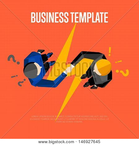 Business template with space for text, vector illustration. Top view of businessmen shaking hands on red background with question and exclamation marks. Lightning bolt. Concept of communication.
