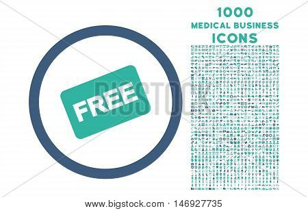 Free Card rounded glyph bicolor icon with 1000 medical business icons. Set style is flat pictograms, cobalt and cyan colors, white background.