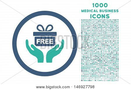 Give Present rounded glyph bicolor icon with 1000 medical business icons. Set style is flat pictograms, cobalt and cyan colors, white background.