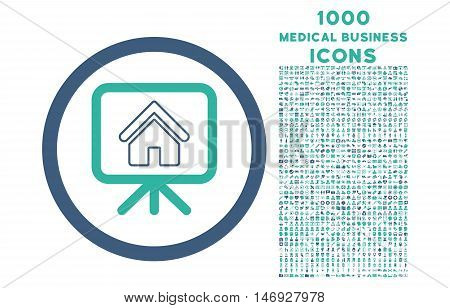 Project Slideshow rounded glyph bicolor icon with 1000 medical business icons. Set style is flat pictograms, cobalt and cyan colors, white background.