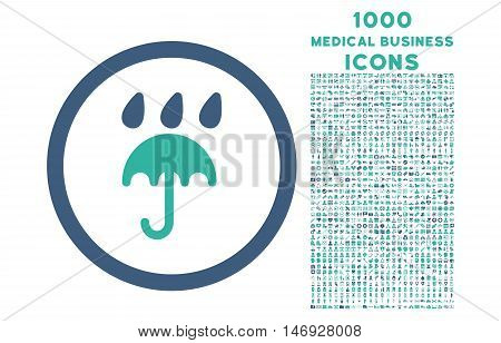 Rain Protection rounded glyph bicolor icon with 1000 medical business icons. Set style is flat pictograms, cobalt and cyan colors, white background.
