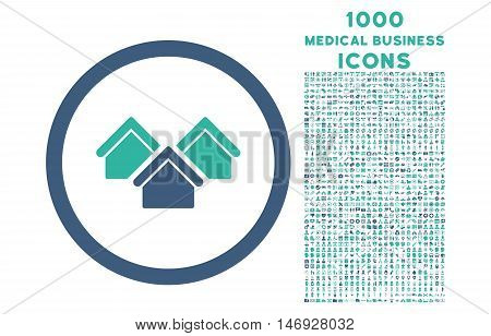 Real Estate rounded glyph bicolor icon with 1000 medical business icons. Set style is flat pictograms, cobalt and cyan colors, white background.