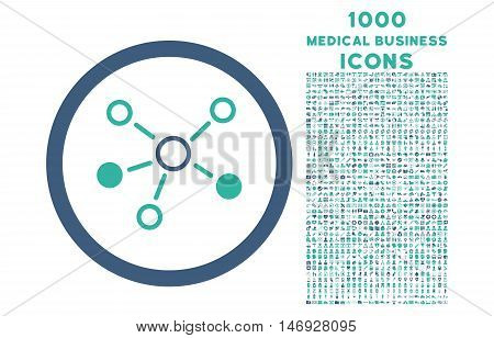 Relations rounded glyph bicolor icon with 1000 medical business icons. Set style is flat pictograms, cobalt and cyan colors, white background.