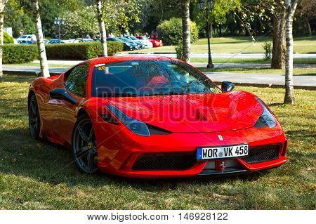 Mogliano VenetoItaly Sept 112016:Photo of a Ferrari 458 Speciale at meeting Top Selection 2016. The 458 Speciale is the top performing 458 Italia.The vehicle was unveiled in 2013 at the Frankfurt Motor Show.