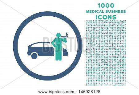 Smoking Taxi Driver rounded glyph bicolor icon with 1000 medical business icons. Set style is flat pictograms, cobalt and cyan colors, white background.