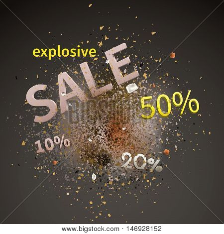 Explosive sale. Sale design template vector with explosion cloud of pieces.