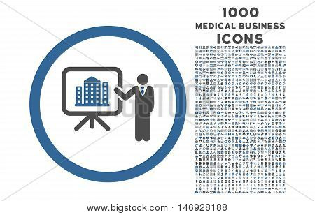 Architecture Presentation rounded glyph bicolor icon with 1000 medical business icons. Set style is flat pictograms, cobalt and gray colors, white background.