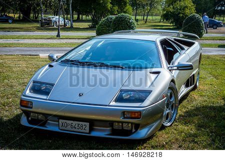 Mogliano VenetoItaly Sept 112016:Photo of a Lamborghini VT at meeting Top Selection 2016. The Diablo VT was introduced in 1993. Although the VT differed from the standard Diablo in a addition of all wheel drive.