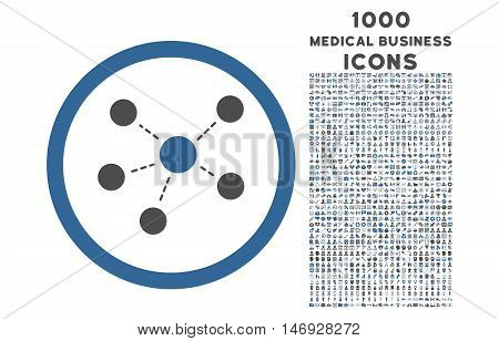 Connections rounded glyph bicolor icon with 1000 medical business icons. Set style is flat pictograms, cobalt and gray colors, white background.