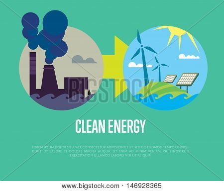 Vector illustration of evolution from industrial pollution to clean energy. Greening of the world infographics. Traditional and alternative natural electricity resources. Development renewable energy