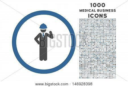 Engineer rounded glyph bicolor icon with 1000 medical business icons. Set style is flat pictograms, cobalt and gray colors, white background.