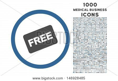 Free Card rounded glyph bicolor icon with 1000 medical business icons. Set style is flat pictograms, cobalt and gray colors, white background.