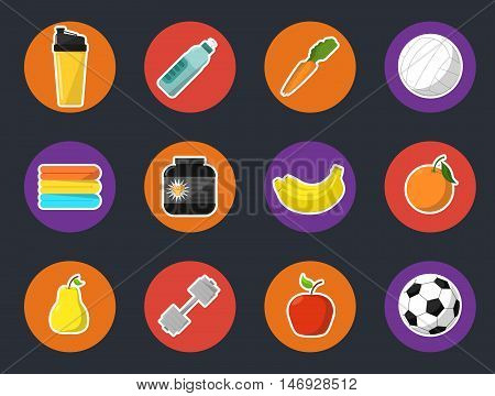 Sports and nutrition vector illustration, icons set. Protein shaker, nutrition container, dumbbell, ball, fruit, sports bottle, towels on black background. Athletic equipment. Fitness supplements.
