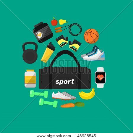 Fitness and healthy lifestyle banner, vector illustration in flat style. Different athletic equipments and nutrition supplements around big sports bag on green background. Workout concept