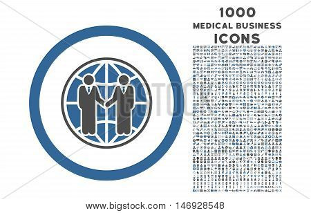 Global Partnership rounded glyph bicolor icon with 1000 medical business icons. Set style is flat pictograms, cobalt and gray colors, white background.