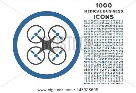 Nanocopter rounded glyph bicolor icon with 1000 medical business icons. Set style is flat pictograms, cobalt and gray colors, white background.